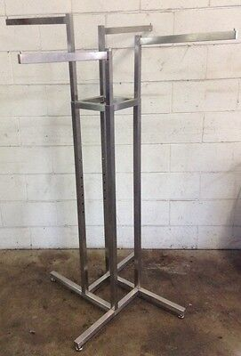 Commercial Shop Fitting Not $299 Stainless Not Chrome 4 WAY CLOTHING RACK Stand