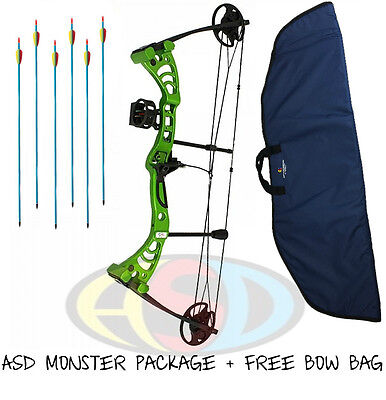 "ASD Green Monster Compound Archery Bow 30-55Lbs 19-29"" PACKAGE 1 W/ Free Bow Bag"