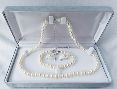 Classic Freshwater Pearl Gift Set with Necklace/Bracelet/Earrings/Giftbox