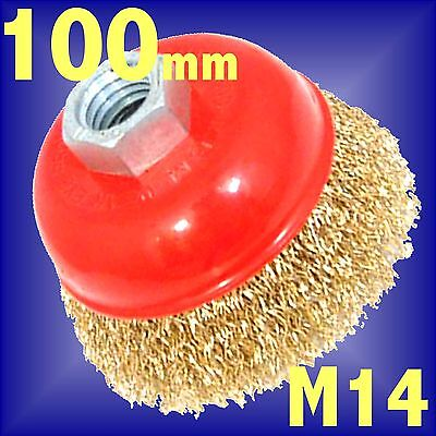 Silverline 100mm Rotary Brass Wire Brush Crimp Cup wheel bowl M14 Angle Grinder