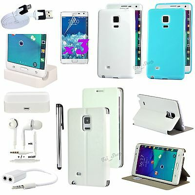 11 PCS Accessory Pack White Leather Case Charger  For Samsung Galaxy Note Edge