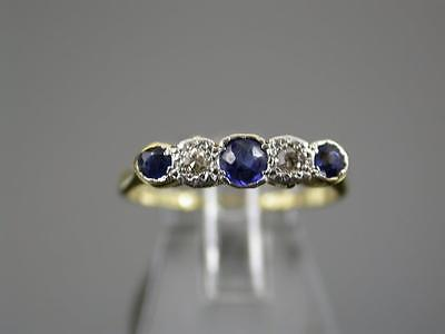 VINTAGE ART DECO 18ct GOLD & PLATINUM SAPPHIRE & DIAMOND RING C.1930