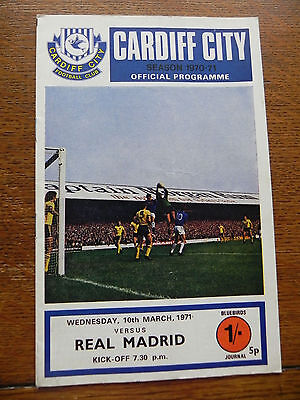 Cardiff v Real Madrid European Cup 1971 Programme - Good Condition
