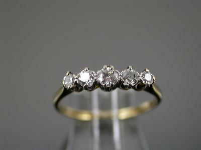 VINTAGE ART DECO 18ct GOLD & PLATINUM 40pt DIAMOND 5 Stone RING C.1930