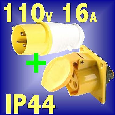 110v 16A 3 PIN YELLOW SITE PLUG PANEL SOCKET IP44 lead generator industrial amp