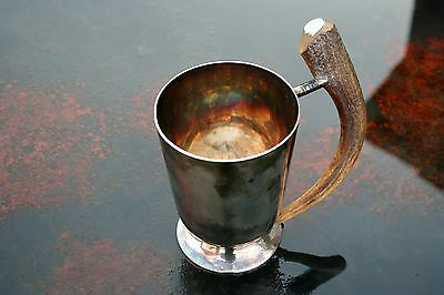 Pinder Brothers Sheffield Silver Plated Horn Tankard