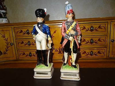 A  Matching Pair of Continental Porcelain/China Military Soldier Decanters
