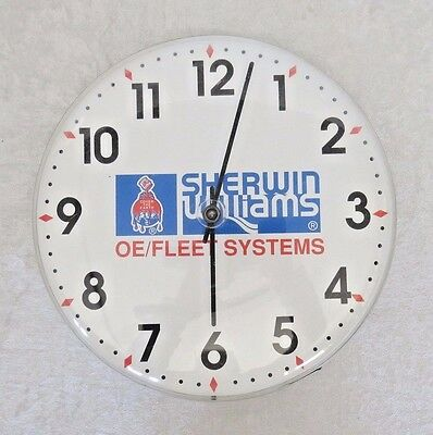 """Sherwin Williams Paint Advertising Clock  """"OE/FLEET SYSTEMS"""" 12"""" Round Face"""