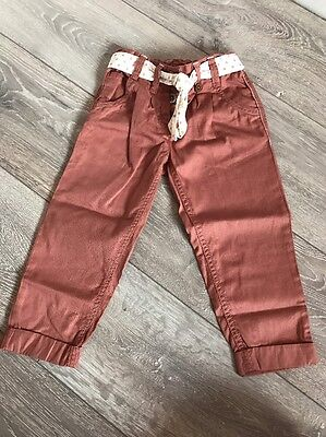 Next Rust Belted Trousers Bnwot 2-3