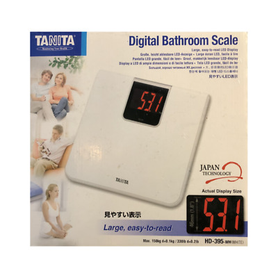 Tanita Hd395Wh Digital Bathroom Scale With Easy Step-On Platform In White