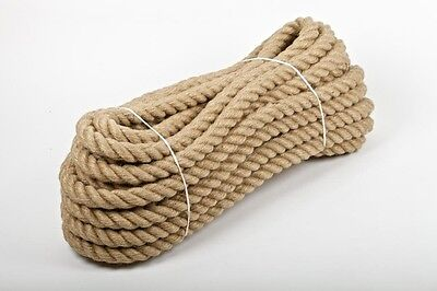 20mm Natural Jute Hessian Rope Cord Braided Twisted Boating Sash Garden Decking