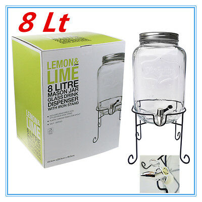 8 Liter Clear Glass Mason Jar Drink Dispenser With Black Iron Stand Lid Party Fw