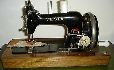 Vtg Small Vesta Hand Crank Sewing Machine And Case + Box Of Misc Items