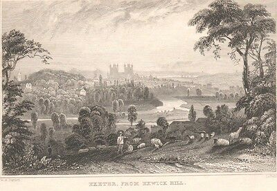 """ANTIQUE PRINT- """"Exeter - from Exwick Hill"""" engraving by William Henry Bartlett"""