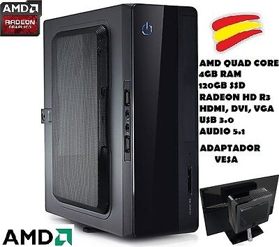 Ordenador Pc Mini Econ, Quad Core, 4Gb Ram, 120Gb Ssd, Vesa, Hdmi