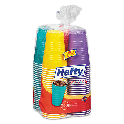 Hefty Easy Grip Disposable Plastic Party Cups 16 oz Assorted 100/Pack C21637
