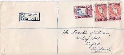 L 1899 Malaya Alor Star Registered 1961 cover to UK; $1.60 rate; 3 stamps