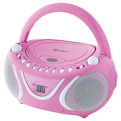 KS-858BP Portable Boombox CD Player with AM/FM Radio and LED Display - Pink