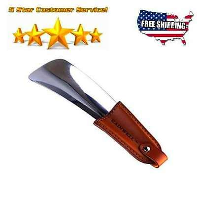 Shoe Horn - Stainless Steel Shoe Horn with Leather Strap - Travel Shoehorn