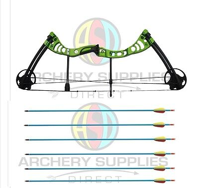 "ASD Green Monster Archery Compound Bow + 6 Alloy Arrows 30-55 Lbs 19""-29"" Draw"