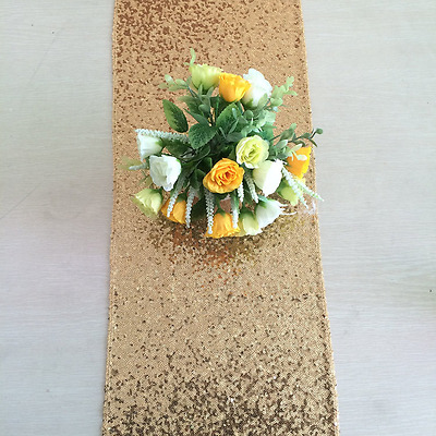 ShinyBeauty Sparkly Gold Sequin Table Runner For Wedding Events Decoration New