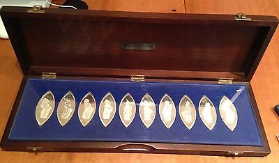 """1977 """"THE QUEENS BEASTS"""" 10 x STERLING SILVER INGOT SET WITH COA & CASE - 490g"""