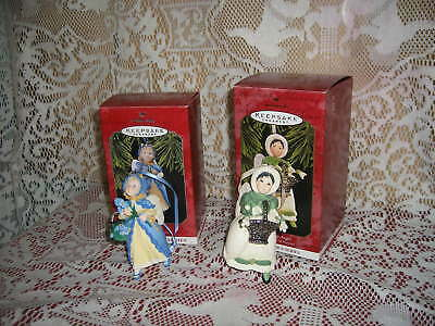 Hallmark Language of Flowers 1998 IRIS Angel & 1997 SNOW DROP Angel Ornaments