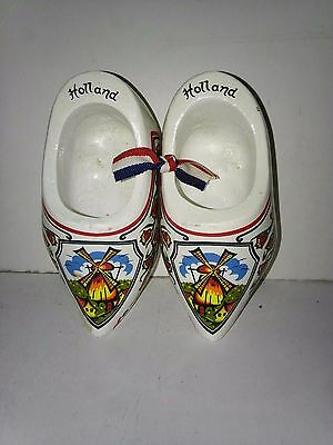 Vintage wooden clog shoe ornament Dutch Holland Souvenir
