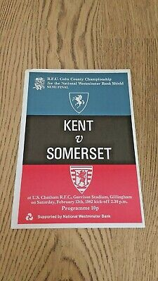 Kent v Somerset 1982 Colts County Championship Semi-Final Rugby Union Programme