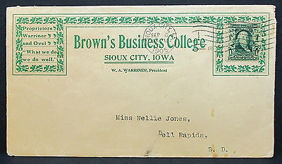 Brown's Business College US Cover Sioux City Franklin Stamp 1c USA Brief (H-7955