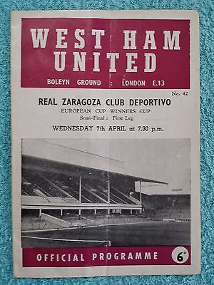 1965 - CUP WINNERS CUP SEMI FINAL 1ST LEG PROGRAMME - WEST HAM v REAL ZARAGOZA