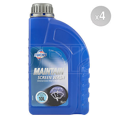 Fuchs MAINTAIN SCREEN WASH Concentrate Screenwash 4 x 1L 4L Makes up to 40L