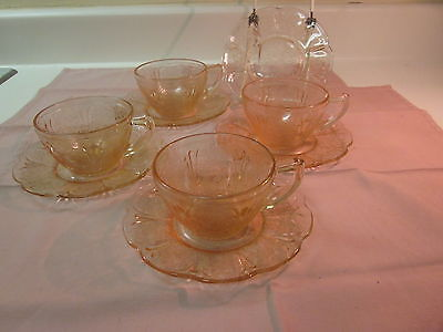 Cherry Blossom Jeannette Glass Company Depression Glass 4 Cups and 5 Saucers