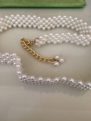 Belt With Pearl Like Beads & Gold Tone Chain