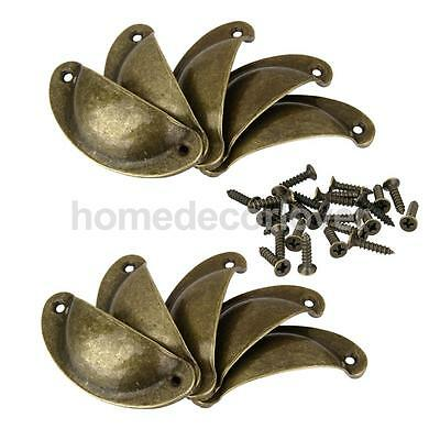 10 x Antique Brass Cupboard Cabinet Cup Drawer Furniture Shell Pull Handle