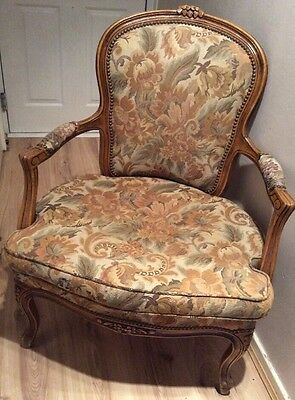 Stunning Beautiful Vintage french Louis Chair. Upholstered year Unknown.