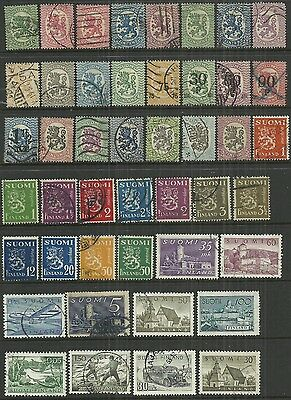 Finland 45 stamps, early to 1950's, some optd, used as scan. Lot 1