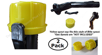 2x BLITZ Yellow Spout Cap fits self-venting gas can spouts 900302 900092 900094
