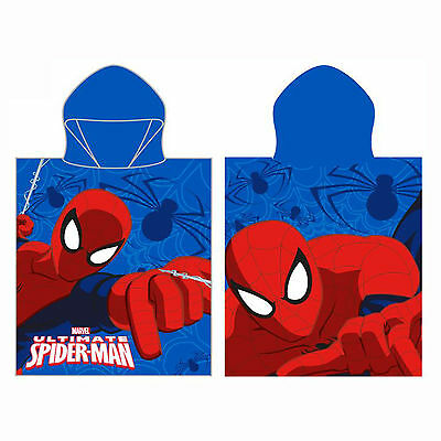 Marvel Ultimate Spiderman Crawl Kids Hooded Poncho Boys Superhero Towel Cotton