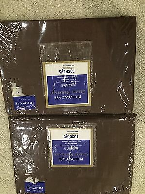 NEW Brown Rosebys Crease Resistant Oxford Style 2 X Cotton Pillow Cases Bedding