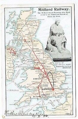 Old Postcard Midland Railway Official Map Of Great Britain Vintage Used 1906