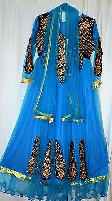 Girls Asian Style Blue Dress With Scarf Headdress And Trousers