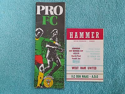1976 - CUP WINNERS CUP QTR FINAL PROGRAMMES - BOTH LEGS - WEST HAM v DEN HAAG