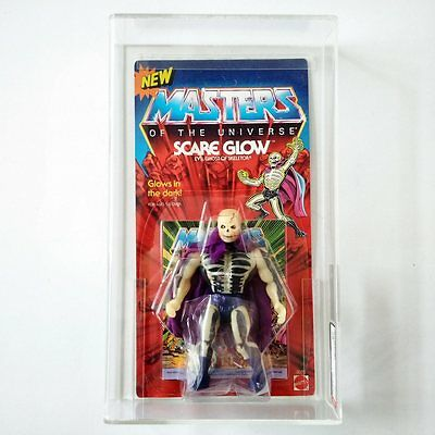 "Masters Of The Universe Scare Glow Moc Afa 80 W/ Rare Glow Halberd & ""new"" Card"