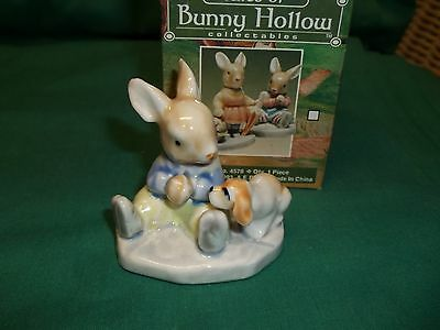 """Tales of Bunny Hollow Collectible Handpainted Glazed Porcelain Bunny w/Puppy 2"""""""