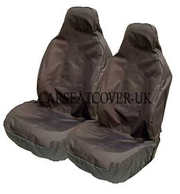 Heavy Duty Black Waterproof Car Seat Covers - Front Pair - Universal Fit (Airbag