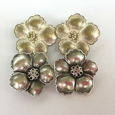 Metal Flower buttons silver or antique silver 15mm, 20mm & 25mm  per 2 buttons