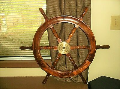 """Antique Vintage Boat Ships Wheel 31"""" Wide 2"""" Thick,Mahogany & Brass,Nautical"""