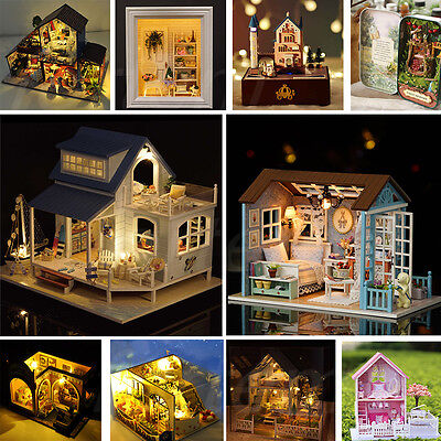 Wooden Dollhouse DIY Handcraft Miniature Kit w/Led Light & Furniture Xmas Gift