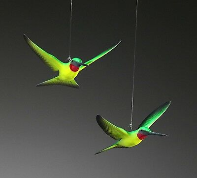 HUMMINGBIRD Duo Mobile by JOHN PERRY Sculpture New Statue Green/Yellow